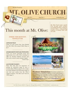 Mt. Olive July Newsletter