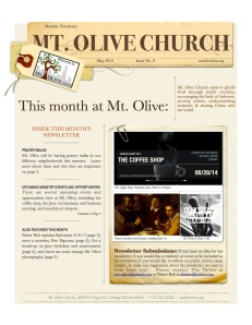 Mt Olive May Newsletter